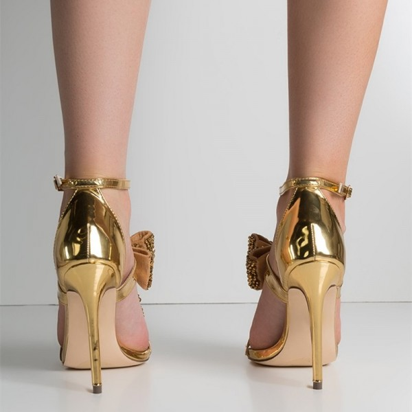 Gold Rhinestone Bow Sandals Metallic Ankle Strap Evening Shoes image 5