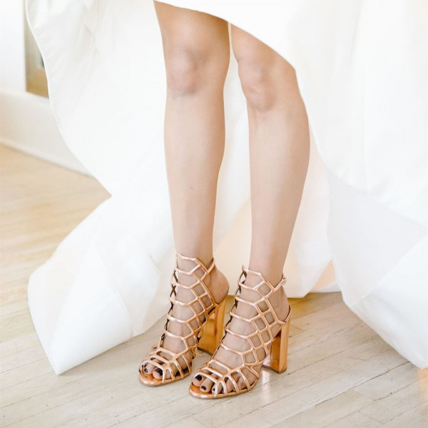 Gold Caged Evening Shoes Hollow out Chunky Heels Wedding Sandals image 2