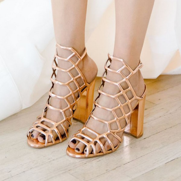Gold Caged Evening Shoes Hollow out Chunky Heels Wedding Sandals image 1