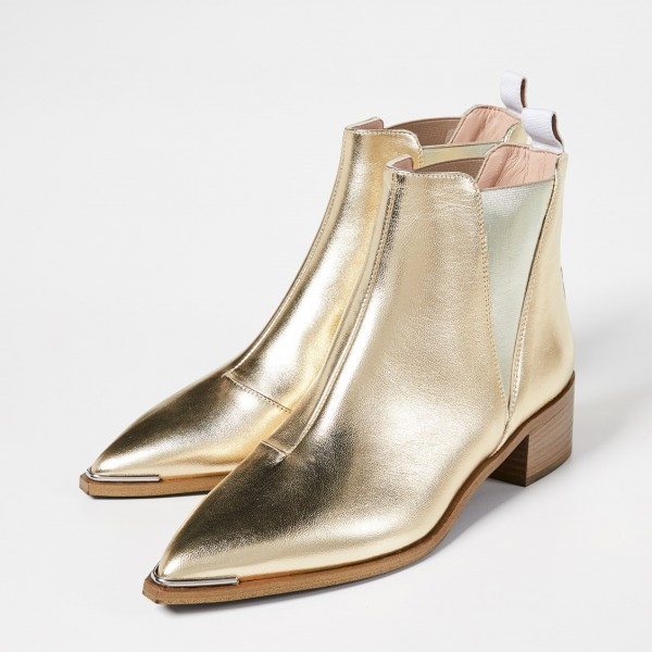 another chance official photos super quality Gold Chelsea Boots Pointy Toe Slip-on Chunky Heel Ankle Boots