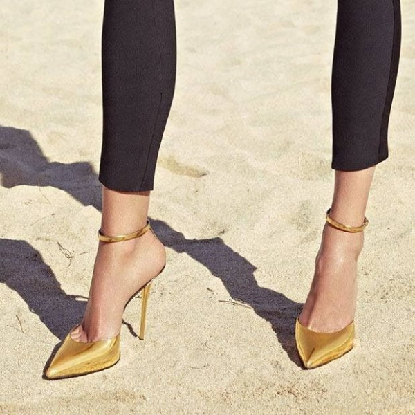 Gold Chic Pointy Toe Stiletto Heels Mirror Leather Ankle Strap Pumps image 1