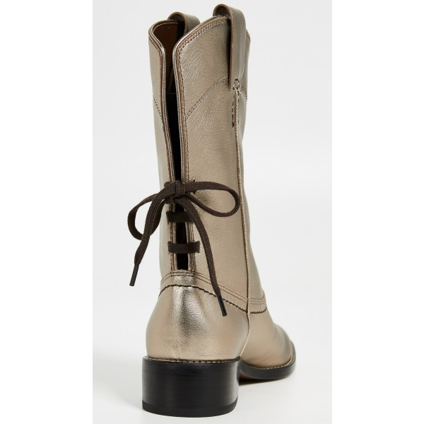 Gold Chunky Heels Cowgirl Boots Round Toe Back Lace up Ankle Booties image 4
