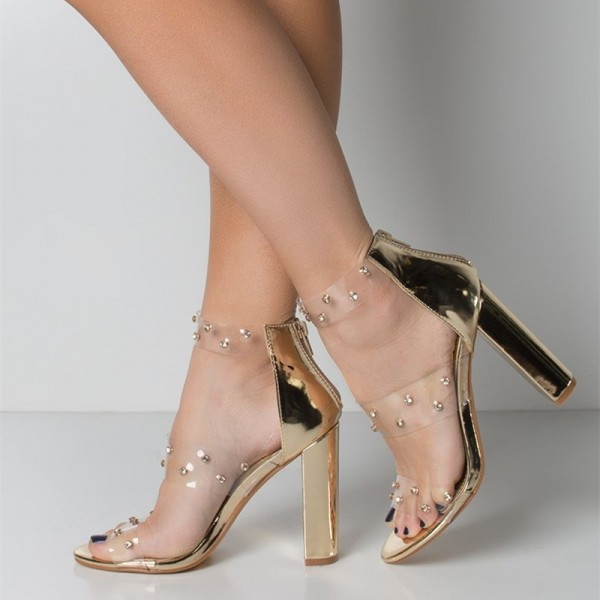 Gold Clear Chunky Heel Sandals Transparent Sandals white Rhinestone image 1