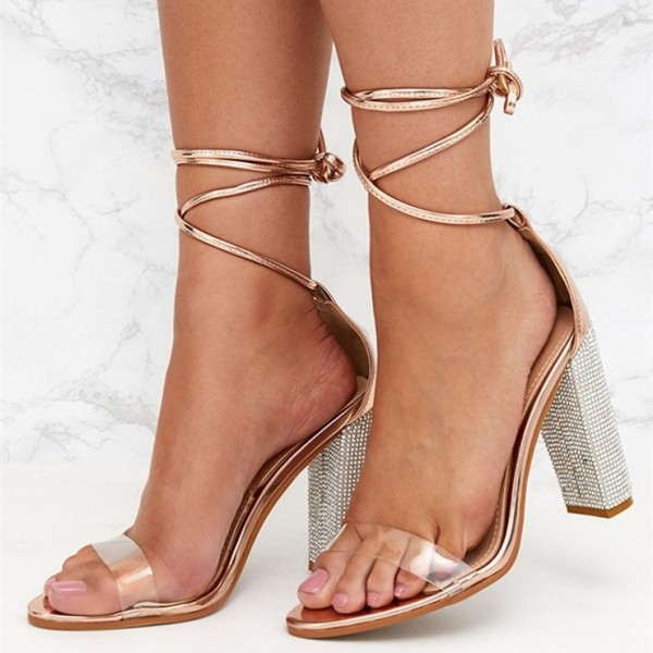 e301d40b715 Gold Clear Heels Open Toe Chunky Heels Strappy Sandals for Party ...