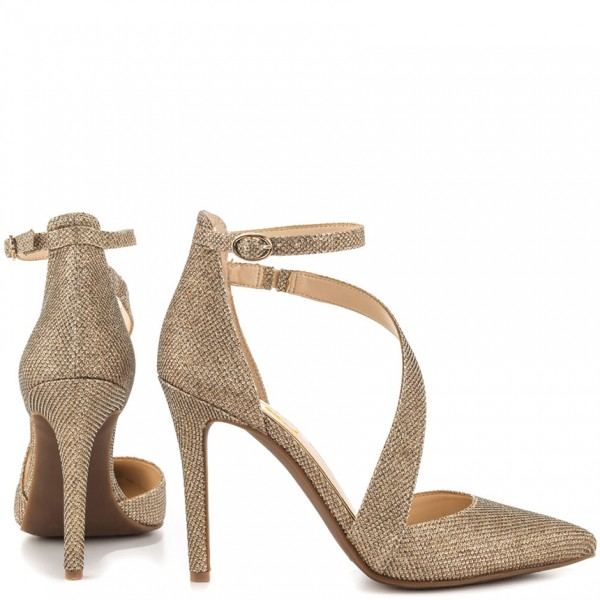 Women's Gold Sparkly Heels Ankle Strap Pointed Toe Heel Pumps image 5