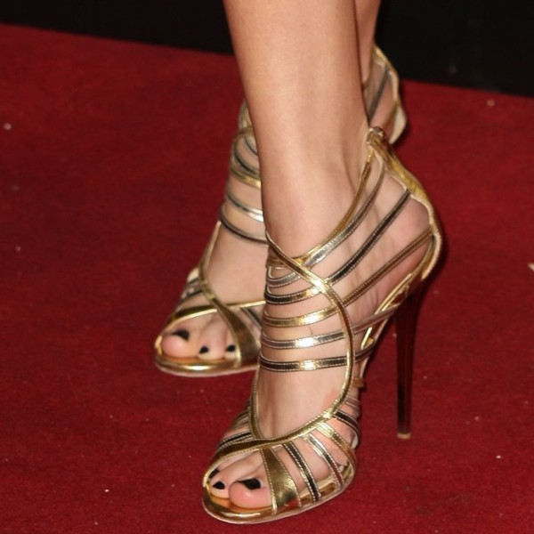 Gold Evening Shoes Strappy Sandals Peep Toe Stiletto Heels image 1