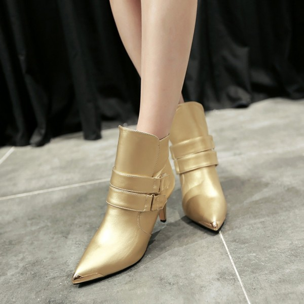 Golden Patent Leather Fashion Boots Pointy Toe Kitten Heel Ankle Boots image 1