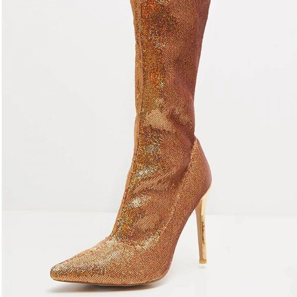 Gold Fish Scale Sock Boots Pointed Toe Stiletto Heel Thigh High Boots image 1
