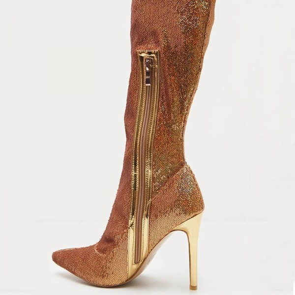 Gold Fish Scale Sock Boots Pointed Toe Stiletto Heel Thigh High Boots image 2