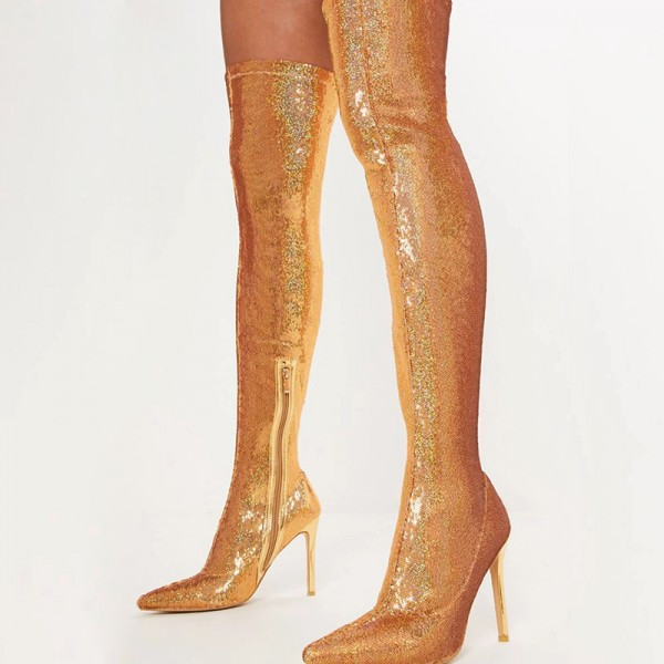 Gold Fish Scale Sock Boots Pointed Toe Stiletto Heel Thigh High Boots image 3