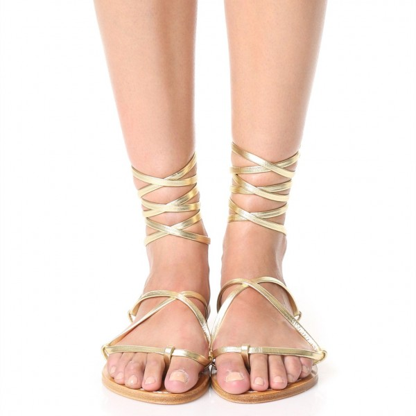 Gold Gladiator Sandals Comfortable Flats Strappy Sandals image 2