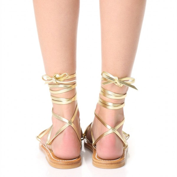 Gold Gladiator Sandals Comfortable Flats Strappy Sandals image 3