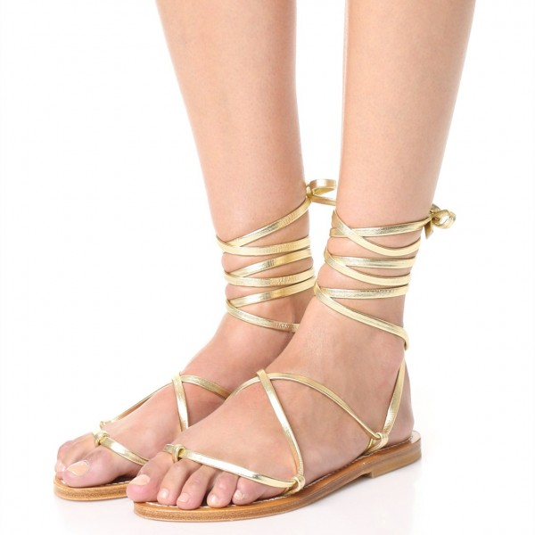 Gold Gladiator Sandals Comfortable Flats Strappy Sandals image 1