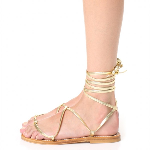 Gold Gladiator Sandals Comfortable Flats Strappy Sandals image 4