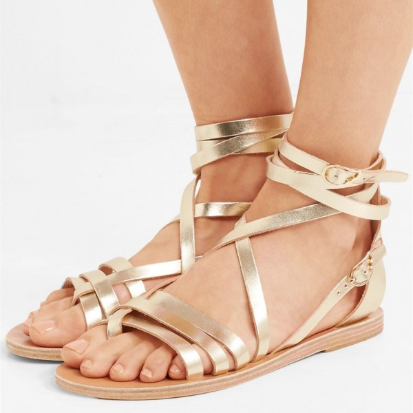 b6440f5a16d1 Gold Gladiator Sandals Open Toe Summer Strappy Sandals for Party ...