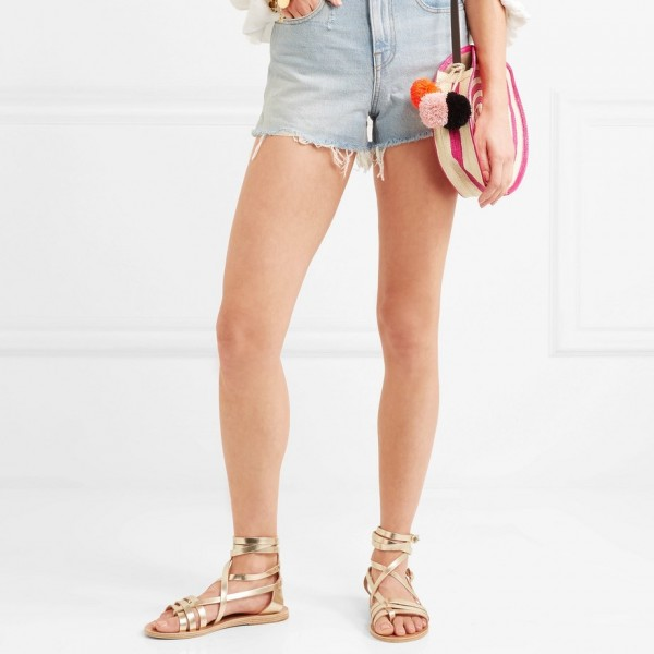 Gold Gladiator Sandals Open Toe Summer Strappy Sandals image 2