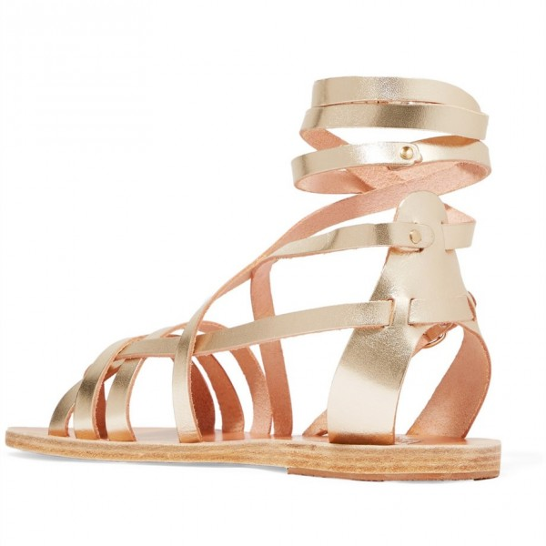 Gold Gladiator Sandals Open Toe Summer Strappy Sandals image 4