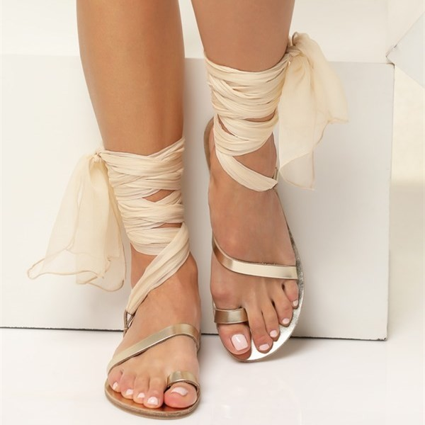 Gold Gladiator Sandals Open Toe White Scarves Strappy Sandals image 2