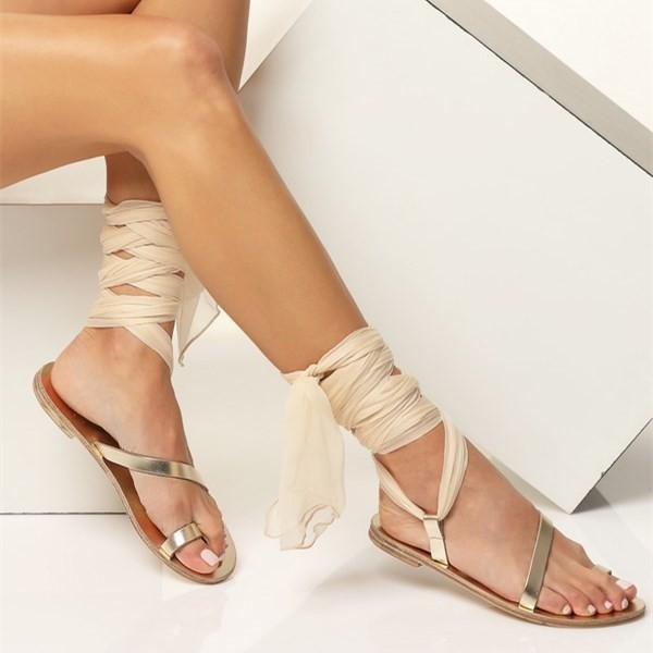 Gold Gladiator Sandals Open Toe White Scarves Strappy Sandals image 3