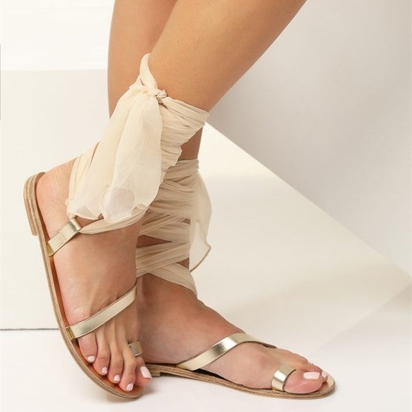 Gold Gladiator Sandals Open Toe White Scarves Strappy Sandals image 4