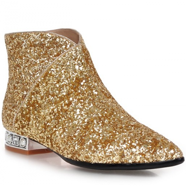 Gold Glitter Fashion Boots Pointy Toe Low Heel Short Boots image 4