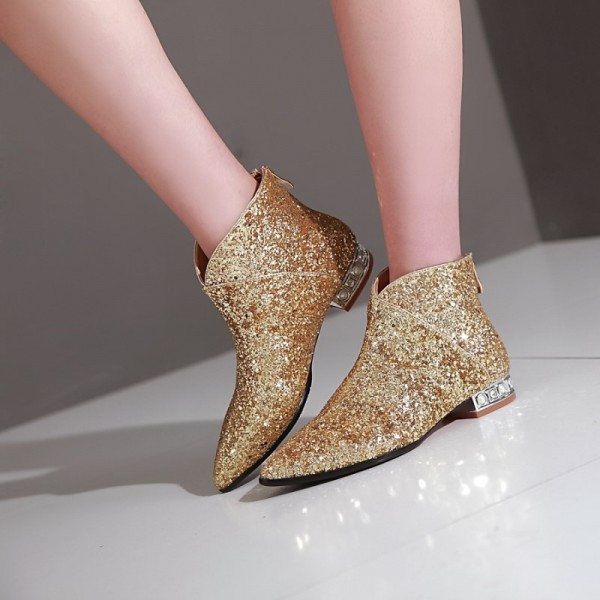 Gold Glitter Fashion Boots Pointy Toe Low Heel Short Boots image 2