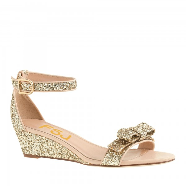Women's Golden Ankle Strap Sandals Glitter Wedge Heel with Bow image 4