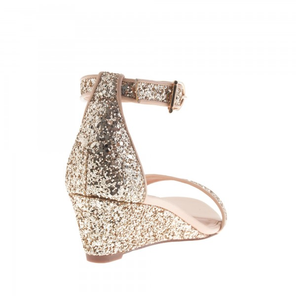 Golden Glitter Bridal Sandals Open Toe Wedge Heels Ankle Strap Sandals image 3