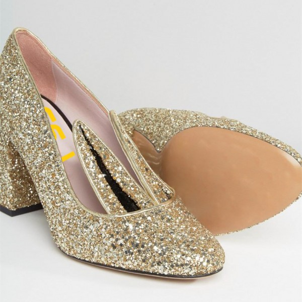 Fashion Gold Glitter Dress Shoes Chunky Heels Lovely Rabbit Pumps   image 3