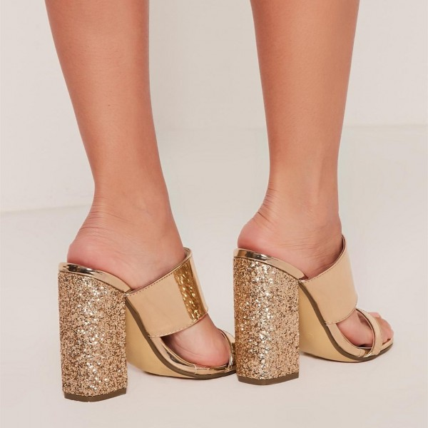 Gold Metallic and Glitter Mule Heels Open Toe Block Heels US Size 3-15 image 3