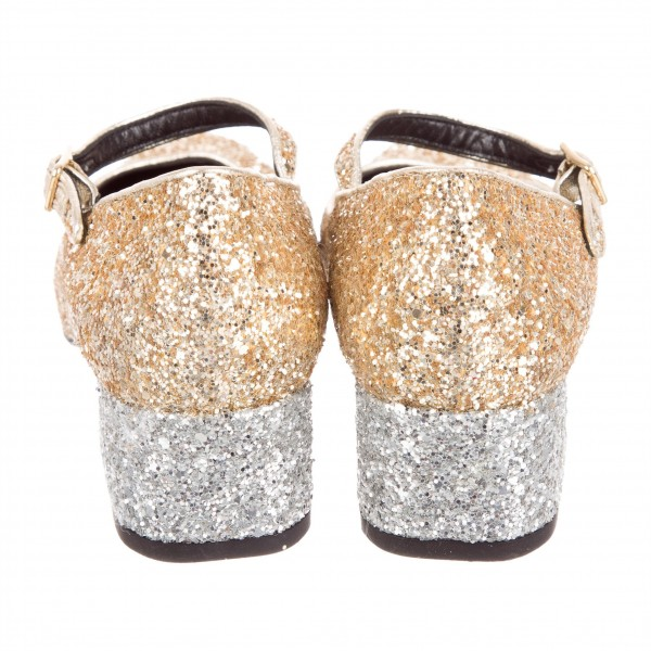 Gold Glitter Block Heels Round Toe Mary Jane Pumps for Women image 3