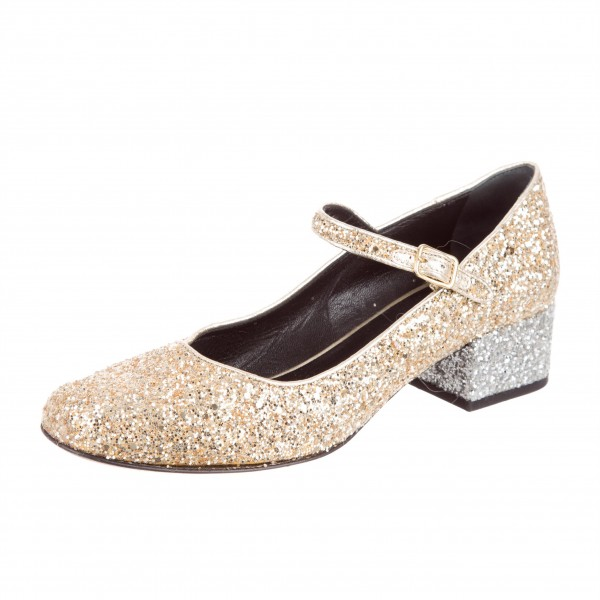 Gold Glitter Block Heels Round Toe Mary Jane Pumps for Women image 1 ... 8b3990c09