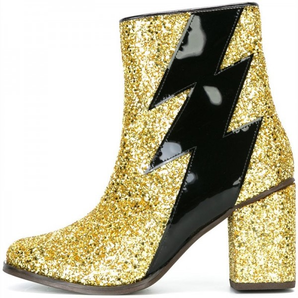 Gold Glitter Boots Patent Leather Lightning Chunky Heel Ankle Boots  image 1