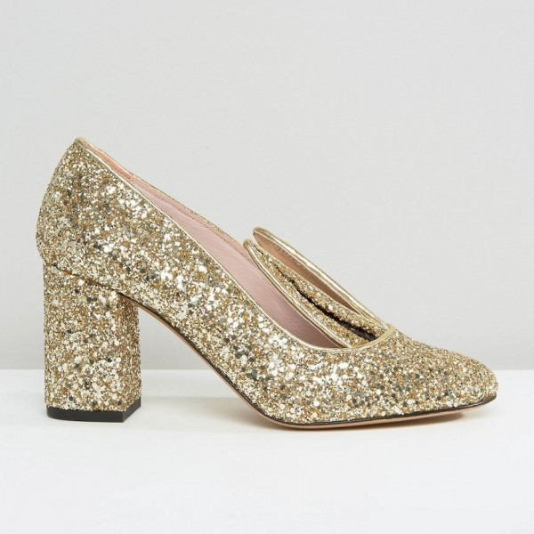 Fashion Gold Glitter Dress Shoes Chunky Heels Lovely Rabbit Pumps   image 2