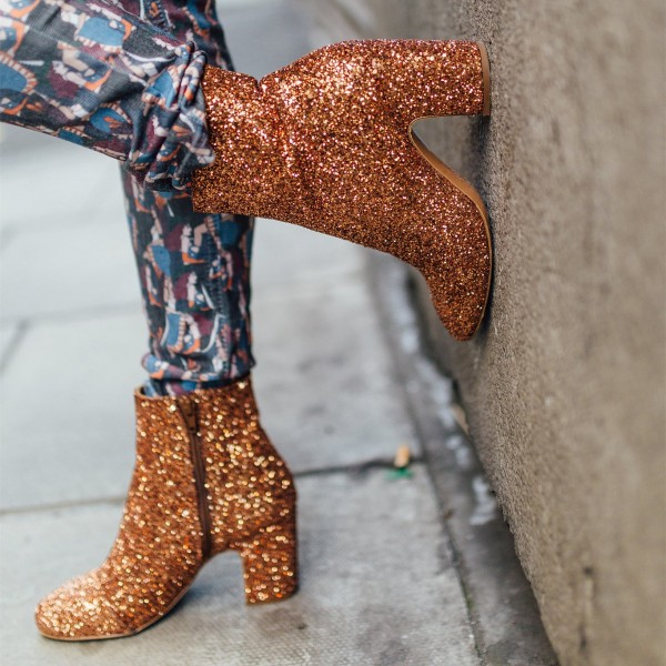Gold Glitter Boots Round Toe Block Heel Ankle Boots image 1