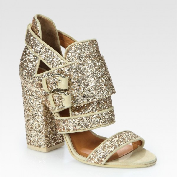 Gold Glitter Shoes Open Toe Chunky Heel Sandals for Prom image 2
