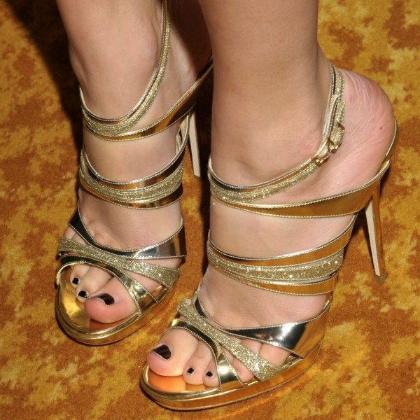 Gold Glitter Evening Shoes Stiletto Heel Platform Sandals Prom Shoes image 1