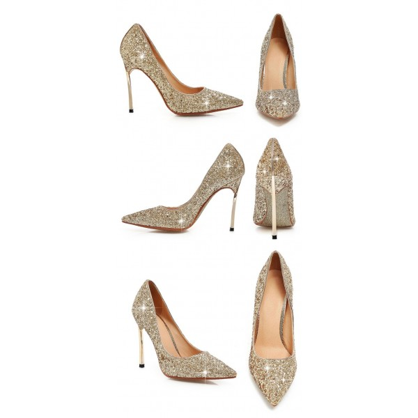Gold Sparkly Heels Glitter Pointy Toe Stiletto Heels Pumps image 3