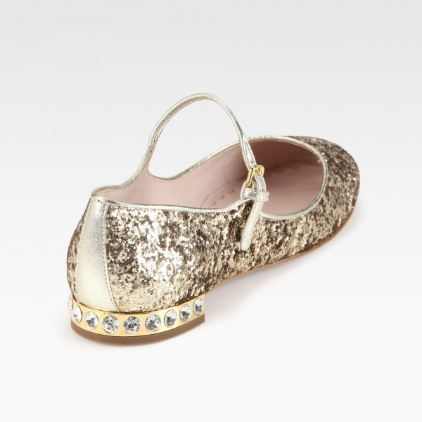 Gold Glitter Mary Jane Shoes Chunky Heels Rhinestone School Shoes image 2