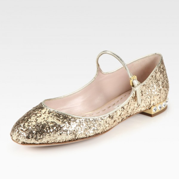Gold Glitter Mary Jane Shoes Chunky Heels Rhinestone School Shoes image 1