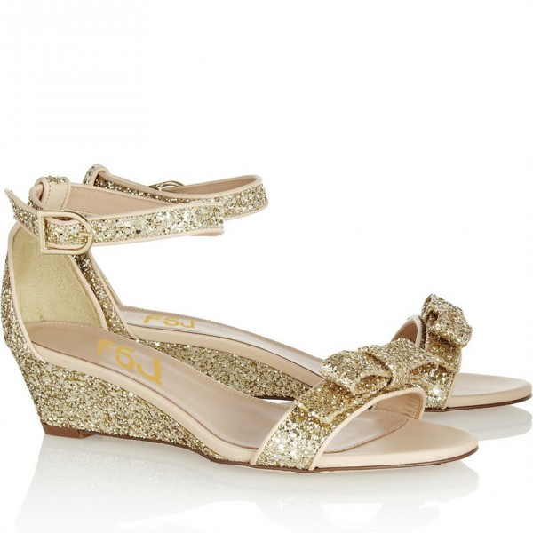Women's Golden Ankle Strap Sandals Glitter Wedge Heel with Bow image 3