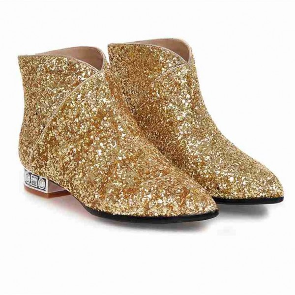 Gold Glitter Fashion Boots Pointy Toe Low Heel Short Boots image 3
