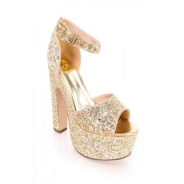Women's Golden Dazzling Ankle Strap Sandals Buckle Chunky Heel Sandals image 2