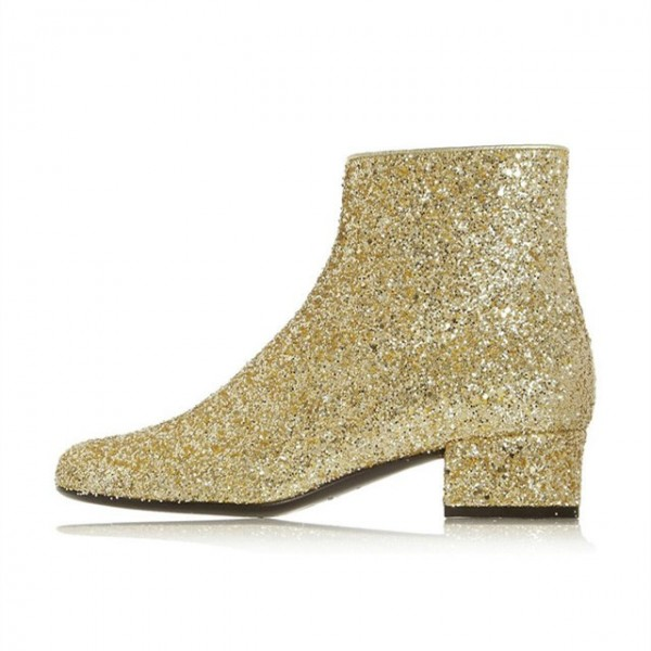 Gold Glitter Boots Round Toe Short Block Heel Ankle Boots image 2