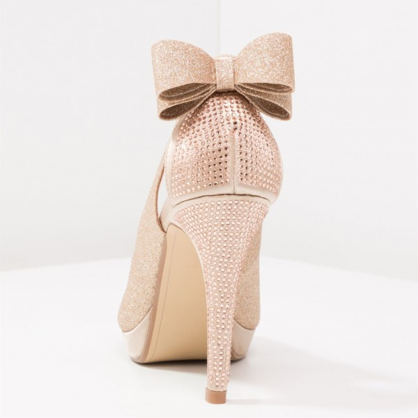 Rose Gold Glitter Shoes Peep Toe Platform Pumps with Bow image 3