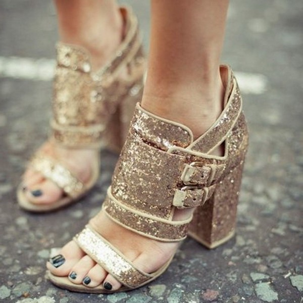 Gold Glitter Shoes Open Toe Chunky Heel Sandals for Prom image 1