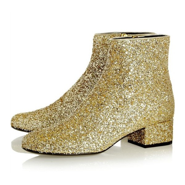 Gold Glitter Boots Round Toe Short Block Heel Ankle Boots image 1
