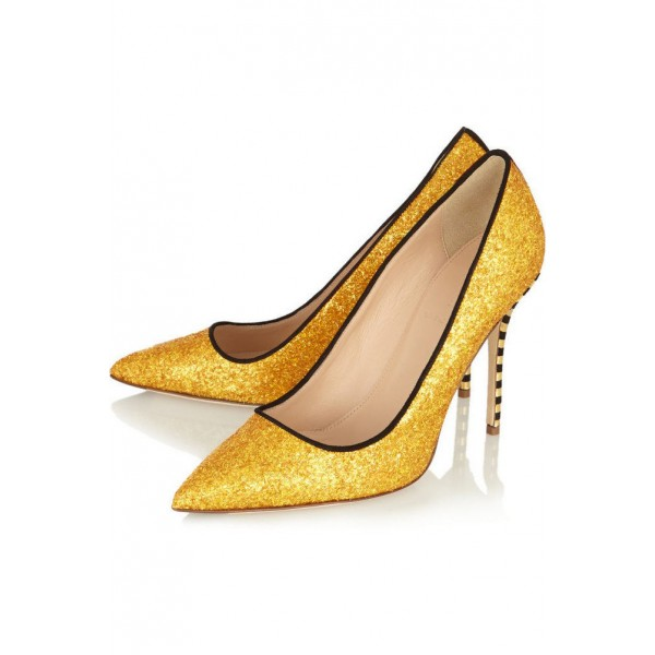 Gold Glitter Shoes Pointy Toe Vegan Stiletto Heel Pumps US Size 3-15 image 2