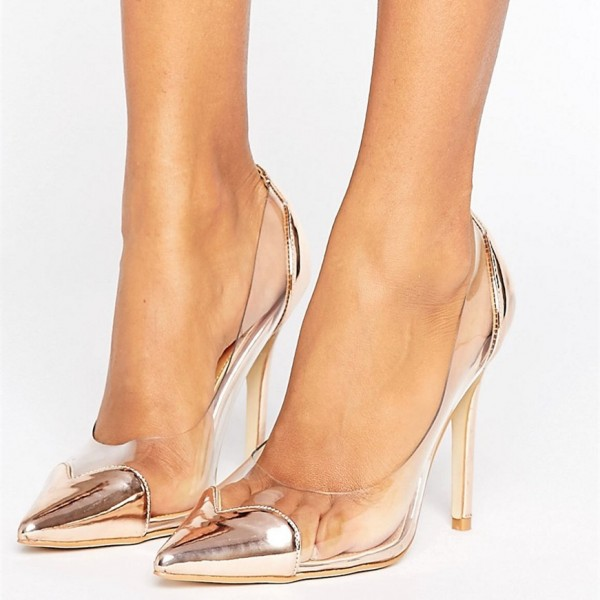 Champagne Heart Pointy Toe Clear Pumps Transparent Stiletto Heel Shoes  image 1 ...