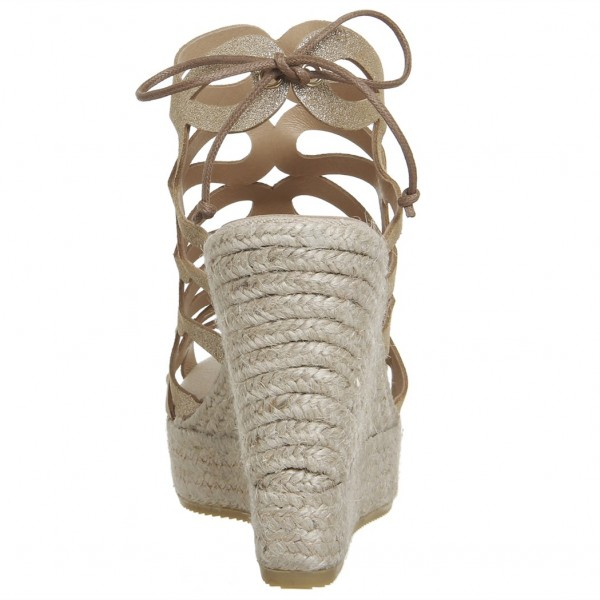 Champagne Hollow out Espadrille Wedge